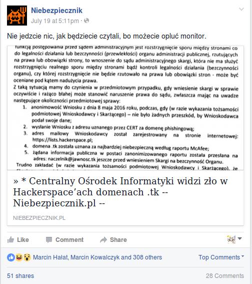 Wpis na Facebooku z komentarzem: Nie jedzcie nic, jak będziecie czytali, bo możecie opluć monitor.