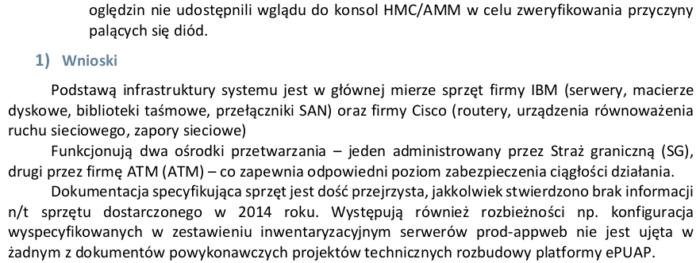 Fragment funkcjonującego w obiegu publicznym raportu z audytu ePUAP, s. 57